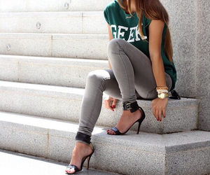 fashion, outfit, and heels image