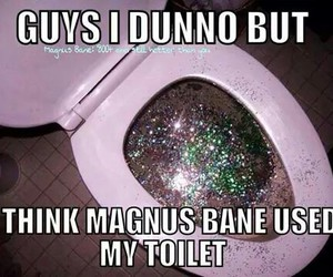 sparkle, toilet, and magnus bane image
