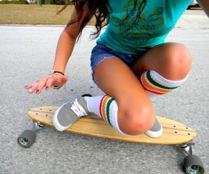 skate, girl, and longboard image