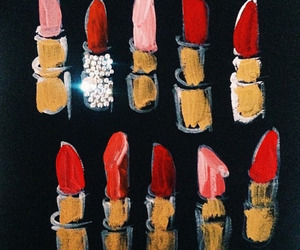 lipstick, red, and art image