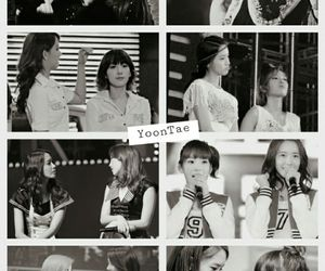 black and white, snsd, and couple image