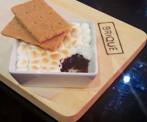 brownie, marshmallows, and s'mores image