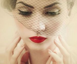 red, vintage, and red lips image