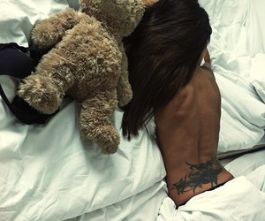 bed, tattoo, and girl image