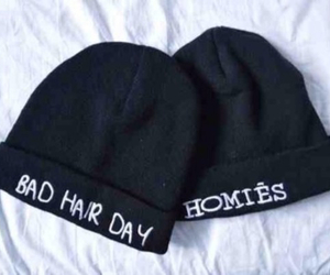 black, hair, and beanies image