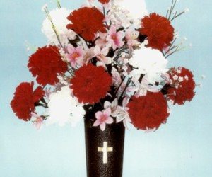 flowers, vase, and cross image