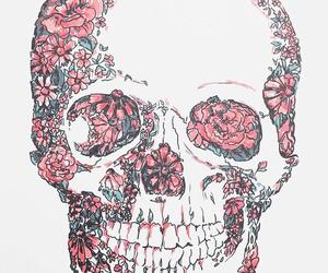 flowers, skull, and wallpaper image