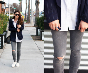 blogger, boyfriend blazer, and brunette image