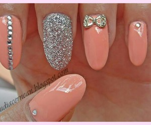 nails, bow, and glitter image