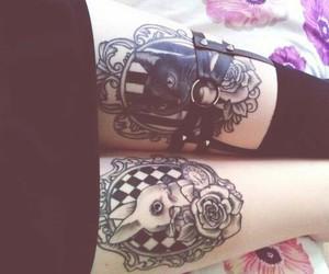 tattoo, cat, and rabbit image