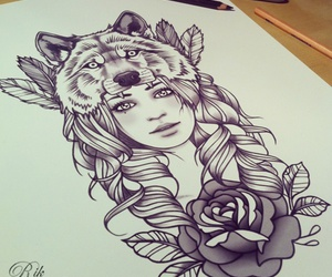 wolf, drawing, and rose image