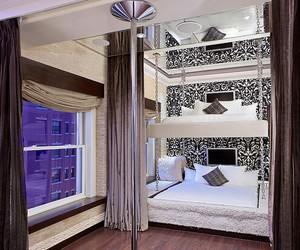 bedroom, party, and bunk beds image