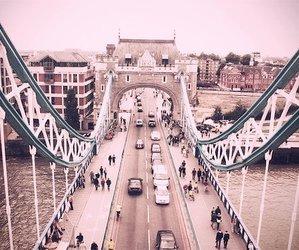 bridge, people, and river image
