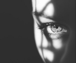 black and white, dark, and eyes image