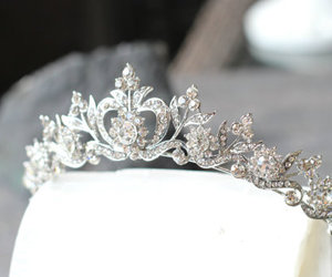 bridal, white, and crown image