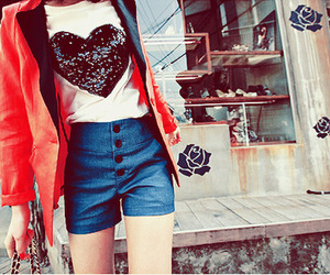 girl, fashion, and heart image