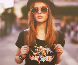 girl, iron maiden, and sunglasses image