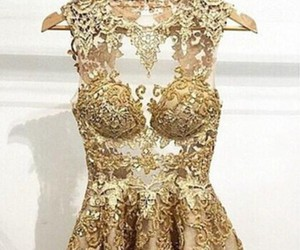 dress, gold, and golden image