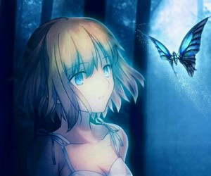 anime, butterfly, and blue image