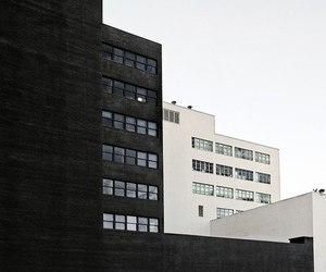 black, white, and architecture image
