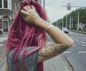 girl, hair, and tattoo image