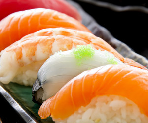 japan, nigiri, and salmon image