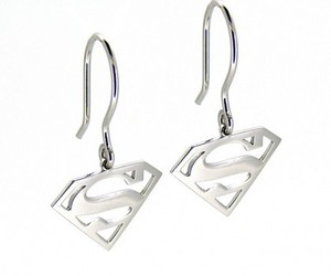 earrings, sterling silver earrings, and superman earrings image