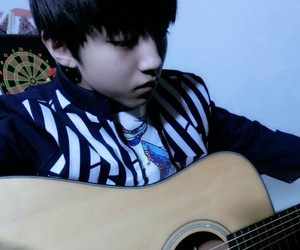 cute, handsome, and guitar image