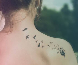 birds, tatoo, and dandelion image