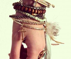 bracelet, feather, and cross image