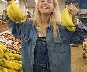 girl, banana, and yellow image