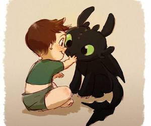hiccup, toothless, and baby image