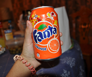 drink, hand, and fanta image