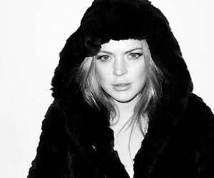 black and white, lindsay lohan, and girl image