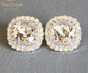 bridal earrings, crystal earrings, and wedding earrings image