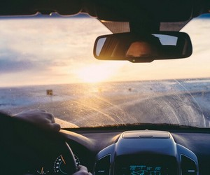 car, sunset, and travel image