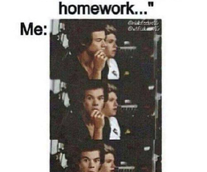 one direction, Harry Styles, and homework image