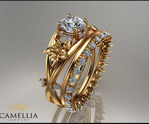 bridal jewelry, diamond engagement rings, and floral diamond ring image
