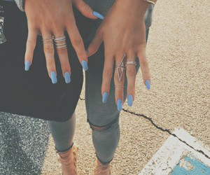 nails, babyblue, and rippedjeans image