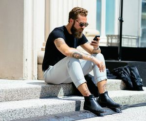 beard, hipster, and fashion image