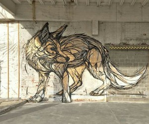 art, fox, and wolf image