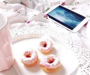 bed, bedroom, and donut image
