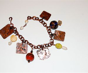 charm bracelet, peace, and pearls image