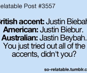 justin bieber, accent, and funny image