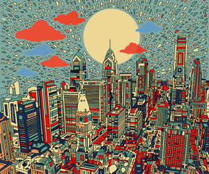 art, city, and sun image