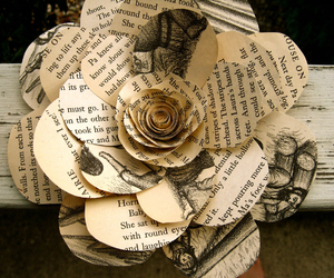 flowers, book, and Paper image