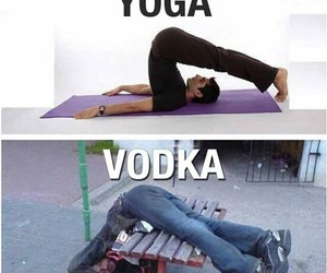 vodka, yoga, and funny image