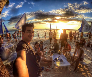 beach, sunset, and gopro image