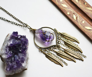 amethyst, crystals, and feather necklace image