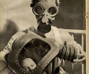 gas mask and baby image